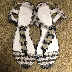 Chanel Tweed and Floral Thong Sandals